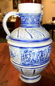 Blue Vase Story 19c Flemish Salt Glazed Pottery Beer Ewer Ft Story Of Susanna