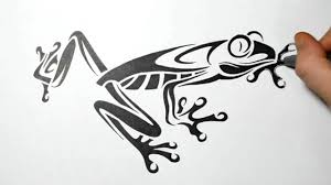 drawing a tree frog tribal design style