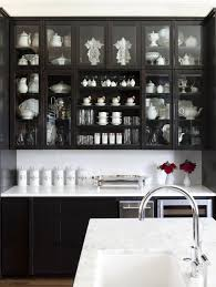 kitchen elegant black kitchen cabinet with mosaic backsplash and