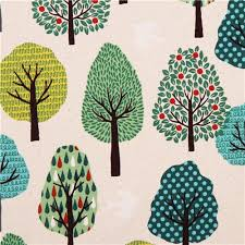 colored retro tree fabric cotton printed oxford flower