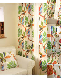 White Curtains With Green Leaves by Floral Patterns And Tropical Curtains Living Room Curtains