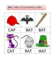 english worksheets three letter words flashcards