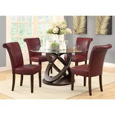 Espresso Dining Room Furniture by Monarch Olympic Ring Dark Espresso Glass Top Round Dining Table
