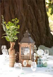 rustic redwood wedding table centerpiece lantern diy wine
