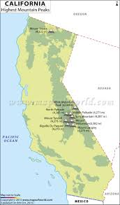Blank Map California by California Highest Mountain Peak California Mountain Ranges Map