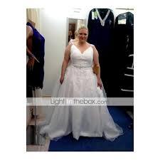 light in the box wedding dress reviews ball gown v neck chapel train organza beaded lace custom wedding