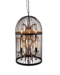 Black Pendant Lights Vintage Industrial Bird Cage Pendant Light With Crystal Ornaments