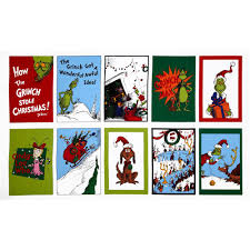 how the grinch stole christmas flannel panel celebration red lime