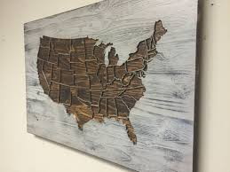 Home Wall Decor by Rustic Us Map Wall Art Wood Carved United States Map With States