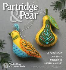 partridge pear pdf pattern for a sewn wool felt