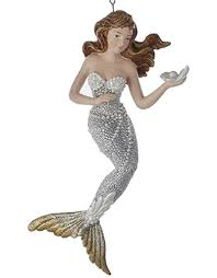 mermaid christmas ornament silver w gold tail c8738 c digs n gifts