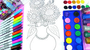 beautiful flower coloring page colors sunflower and pretty vase to