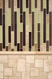 aspen interlocking glass and ivory travertine backsplash tile by