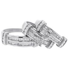 womens diamond rings mens womens diamond wedding bands rings set 14k gold 1 34 ct