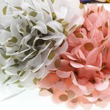 gold polka dot tissue paper pink and gold polka dot tissue paper pom poms wedding party