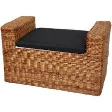 Wicker Storage Bench Amazon Com Oriental Furniture Rush Grass Storage Bench Honey