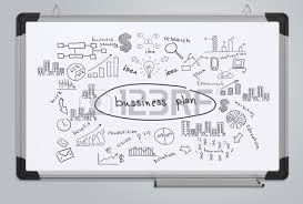 business plan business sketches on the office whiteboard stock
