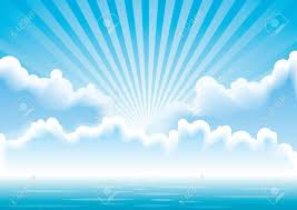 calm sea with clouds and sun rays above it royalty free cliparts