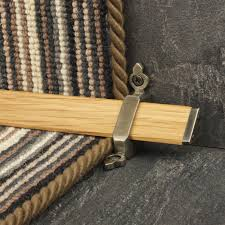 tudor pewter finish light wood stair carpet runner rods stair
