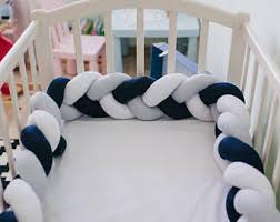 braided crib bumper etsy