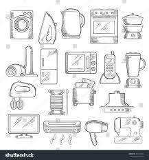 Microwave And Toaster Set Home Appliance Icons Microwave Vacuum Iron Stock Vector 371416894