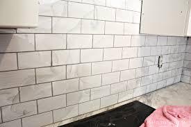 Marble Tile Kitchen Backsplash Interior Grouting The Subway Tile Backsplash Subway Tile