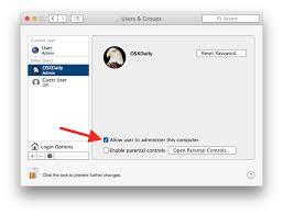 turn standard into administrator account in mac os x