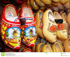 traditional dutch clogs wooden shoes in one of the souvenir