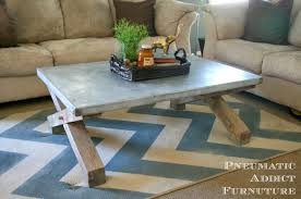 Pottery Barn Knock Off Desk Pneumatic Addict Zinc Top Coffee Table Tutorial Pottery Barn