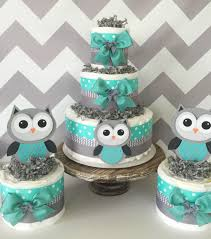 Baby Boy Shower Centerpiece by Set Of 3 Owl Diaper Cakes In Turqoise Teal Gray And White Owl