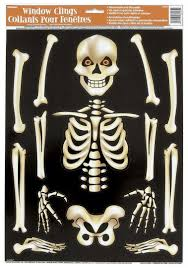 halloween skeleton images amazon com skeleton halloween window cling sheet childrens