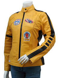 motorcycle jacket store ljs party wear women u0027s yellow kill bill leather biker jacket at