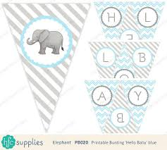 hello baby shower elephant hello baby bunting blue and grey