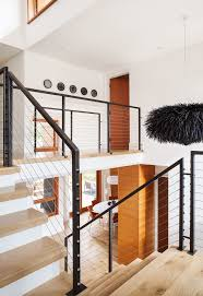 modern stair railings staircase with light silver bar height stools