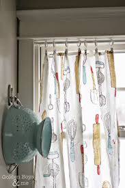 diy kitchen curtain ideas golden boys and me kitchen dish towels turned kitchen curtains
