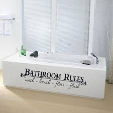 bathroom wall decal quotes silver framed mirror white brown skirt