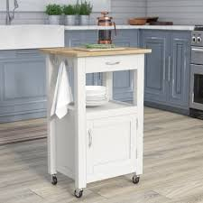Wood Tops For Kitchen Islands Charlton Home Kitchen Island Cart With Wood Top