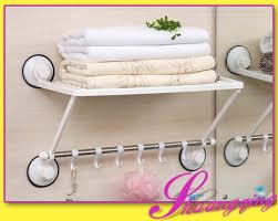 Suction Cup Bathroom Shelf Adjustable 2 Layers Suction Cup Bathroom Towel Shelf Rack With 6