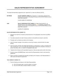 sales representative agreement template u0026 sample form biztree com