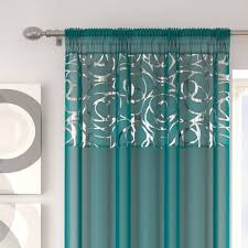 Teal Curtains Arran Teal Slot Top Voile Curtain Panels Low Priced