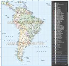 South America Country Map by Digital Vector South America Countries Political Map With Country