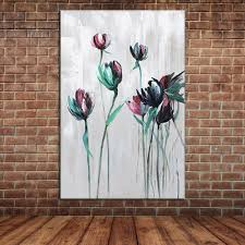 popular canvas flower wall mural painting buy cheap canvas flower hand painted simple tulips flowers oil paintings modern large wall canvas art wall mural posters bedroom