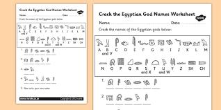 the hieroglyphs egyptian god names worksheet