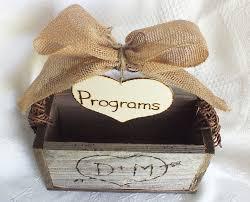 burlap wedding programs wedding program box with burlap bow rustic wedding decor brit