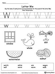 words starting with letter w letter w worksheets and uppercase