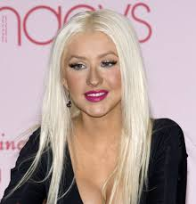 christina aguilera white bleached hair long straight and