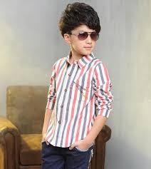 new design kids spring contrast color striped formal dress shirts