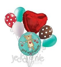 Seeking Balloon Cast Get Well Soon Huggable Balloon Bouquet