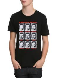 spirit halloween michael myers halloween the faces of mike myers t shirt topic