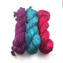 sari silk ribbon block printed handmade sari silk ribbon yarn packs darn yarn